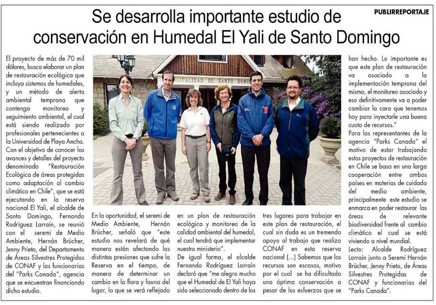 Estudio conservación en Humedal El Yali