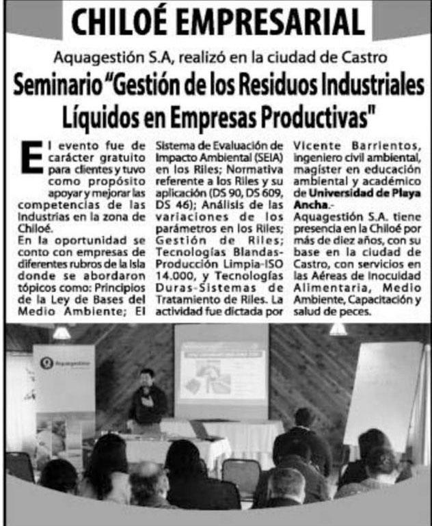 Seminario Gestión de los residuos industriales líquidos en empresas productivas